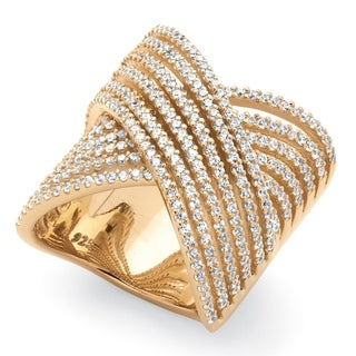 PalmBeach 2.28 TCW Micro-Pave Cubic Zirconia Crossover Multi-Row Cocktail Ring 14k Gold-Plated Bold Fashion
