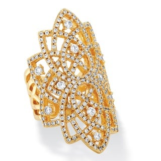 1.63 TCW Micro-Pave Cubic Zirconia Openwork Scroll Ring 14k Yellow Gold-Plated Bold Fashio