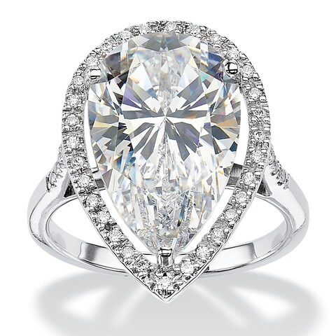 Platinum over Sterling Silver Cubic Zirconia Ring - White