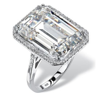 19.57 TCW Emerald-Cut Cubic Zirconia Halo Ring in Platinum over Sterling Silver Glam CZ