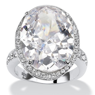 PalmBeach 18.92 TCW Oval-Cut Cubic Zirconia Platinum over Sterling Silver Halo Cocktail Ring Glam CZ