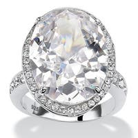 Platinum over Sterling Silver Cubic Zirconia and Round Crystals Ring - White