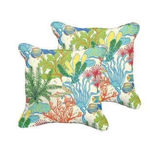 Selena Blue Green Seascape Indoor/ Outdoor Corded Square Pillows (Set of 2)