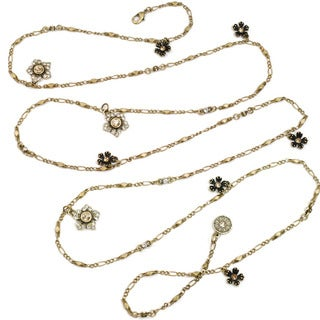 Sweet Romance Pewter Jasmine Crystal Flower Chain Layering Necklace