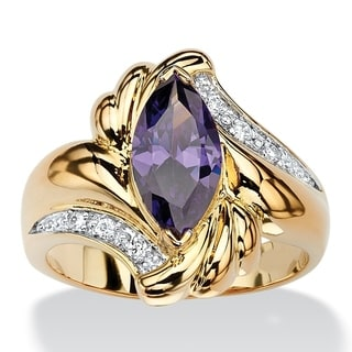 PalmBeach 2.05 TCW Marquise-Cut Simulated Purple Amethyst Bypass Cocktail Ring 14k Gold-Plated Color Fun