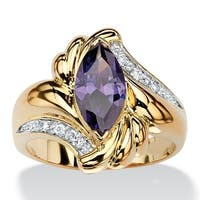 Yellow Gold-Plated Purple Cubic Zirconia Ring - 14k/White