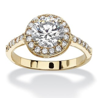 PalmBeach 2.52 TCW Round and Pave Cubic Zirconia 18k Yellow Gold-Plated Halo Ring Classic CZ