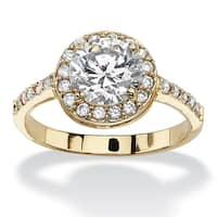 2.52 TCW Round and Pave Cubic Zirconia 18k Yellow Gold-Plated Halo Ring Classic CZ