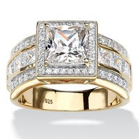 2.92 TCW Princess-Cut Cubic Zirconia Halo Engagement Ring in 18k Gold over Sterling Silver