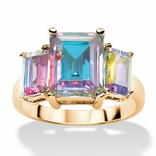5.60 TCW Emerald-Cut Aurora Borealis Cubic Zirconia 3-Stone Ring 14k Yellow Gold-Plated Co