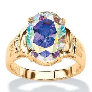 PalmBeach 5.81 TCW Oval Aurora Borealis Cubic Zirconia Cocktail Ring 14k Gold-Plated Color Fun