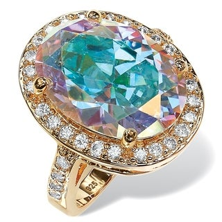 14k Yellow Gold Plated 13 3/5ct TCW Oval Aurora Borealis Cubic Zirconia Halo Cocktail Ring