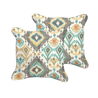 Selena Grey Aqua Ikat Indoor/ Outdoor Corded Square Pillows (Set of 2)