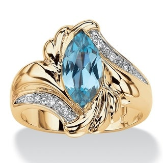 PalmBeach 2.05 TCW Marquise-Cut Aqua Cubic Zirconia Bypass Cocktail Ring 14k Gold-Plated Color Fun