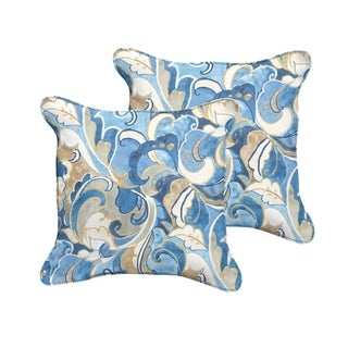 Selena Blue Grey Abstract Indoor/ Outdoor Corded Square Pillows (Set of 2)