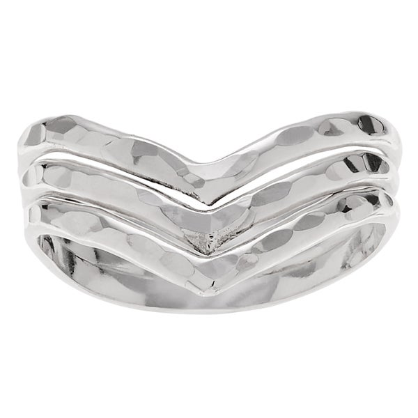 Journee Collection Sterling Silver Handmade Hammered Three-band 'V' Ring