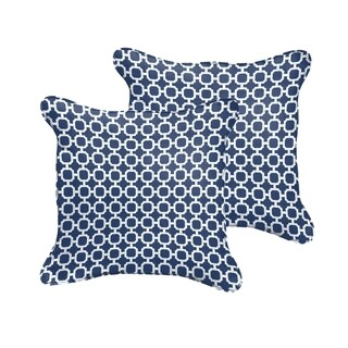 Selena Navy Chainlink Indoor/ Outdoor Corded Square Pillows (Set of 2)
