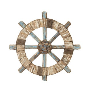 Wood Ship Wheel Wall Decor 24-inch Deep Accent Piece