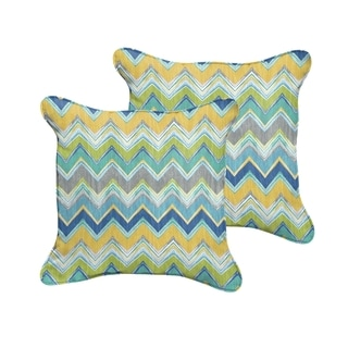 Selena Blue Chevron Indoor/ Outdoor Corded Square Pillows (Set of 2)