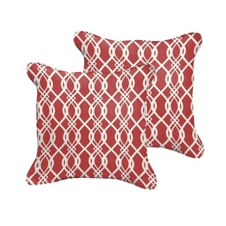 Selena Wavy Red Indoor/ Outdoor Corded Square Pillows (Set of 2)