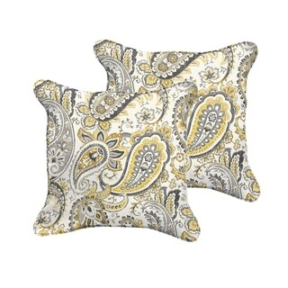 Selena Grey Gold Paisley Indoor/ Outdoor Corded Square Pillows (Set of 2)
