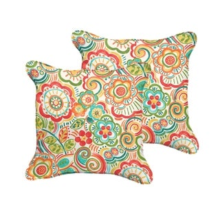 Selena Red Rio Floral Indoor/ Outdoor Corded Square Pillows (Set of 2)