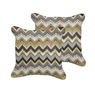 Selena Grey Gold Chevron Indoor/ Outdoor Corded Square Pillows (Set of 2)