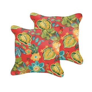 Selena Red Tropical Indoor/ Outdoor Corded Square Pillows (Set of 2)