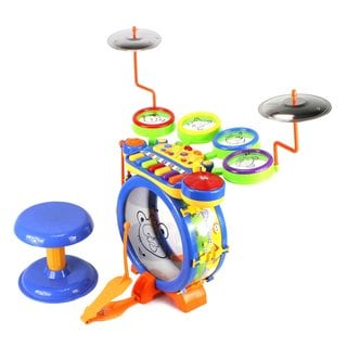 Junior DJ Drum Band 2-in-1 Children's Musical Instrument Toy Drum and Keyboard Play Set 7 Key Piano