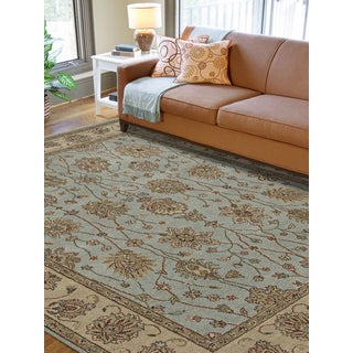 Ogden Traditional Design Blue Hand-Knotted Rug  (8' x 10')