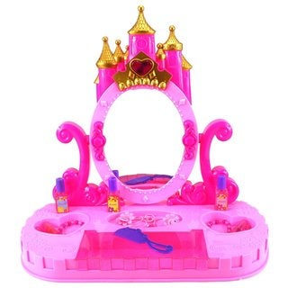 Velocity Toys Princess Castle Table Top Pretend Play Battery Operated Toy Beauty Mirror Vanity Play Set