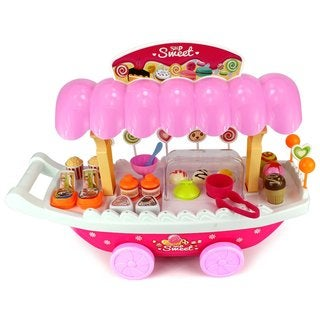 Velocity Toys Ice Cream and Sweets Cart Children's Kid's Pretend Play Toy Food Play Set with Lights Sounds