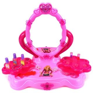 Velocity Toys Fashion Girl Table Top Pretend Play Battery Operated Toy Beauty Mirror Vanity Play Set