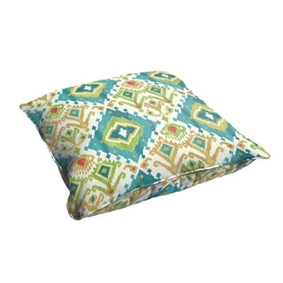Selena Blue Green Ikat 26 x 26-inch Indoor/ Outdoor Corded Edge Floor Pillow