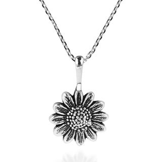 Handmade Enchanting Sunflower Sterling Silver Pendant Necklace (Thailand)