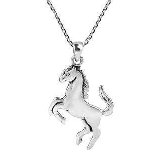 Handmade Galloping Shiny Horse Double Sided Sterling Silver Necklace (Thailand)
