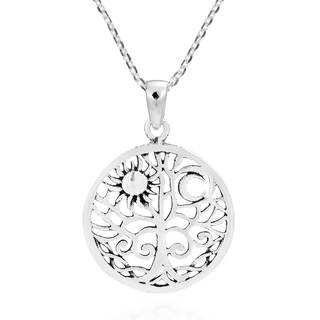 Handmade Sun and Moon Celtic Swirl Tree of Life .925 Silver Necklace (Thailand)