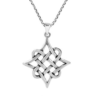 Handmade Quaternary Celtic Knot Eternity Sterling Silver Necklace (Thailand)