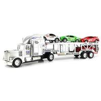Go Speed Champion Trailer Friction Powered Toy Truck with Trailer 4 Toy Cars (Colors May Vary)