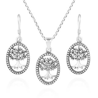 Handmade Tree of Life Oval Frame .925 Silver Necklace Earrings Set (Thailand)