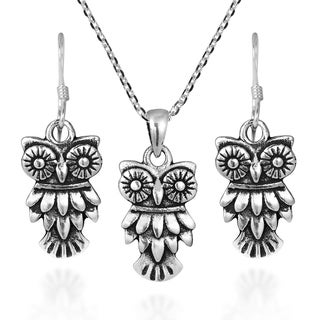 Wide Eyed Owl Sterling Silver Necklace Earrings Jewelry Set (Thailand)