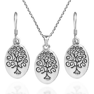 Oval Swirl Tree of Life .925 Sterling Silver Jewelry Set (Thailand)