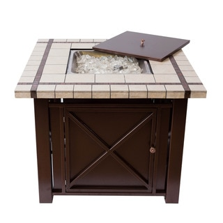 Bombay Bronze Powder Coated Fire Pit Table with Ceramic Countertop