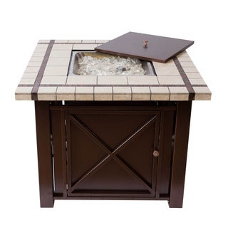 Somette Bronze Powder Coated Fire Pit Table with Ceramic Countertop
