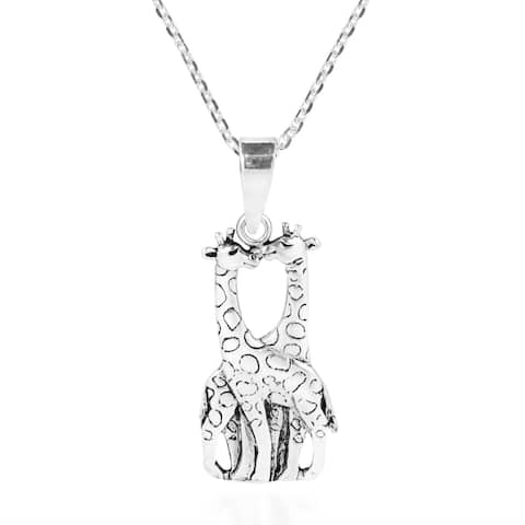 Handmade Giraffe Couple in Love Doublesided Sterling Silver Necklace (Thailand)