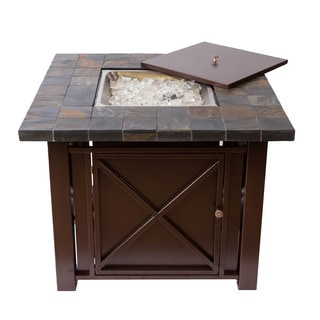 Somette Bronze Powder Coated Fire Pit Table with Slate Countertop