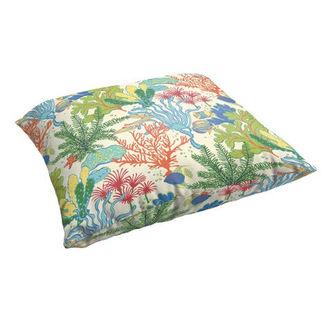 Selena Blue Green Seascape 26 x 26-inch Indoor/ Outdoor Knife Edge Floor Pillow