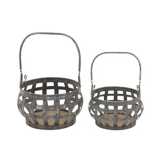 Quality Metal Wood Basket Set of 2 15-inch/ 12-inch Storage Accessory