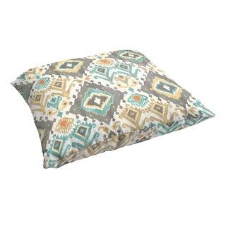 Selena Grey Aqua Ikat 26 x 26-inch Indoor/ Outdoor Knife Edge Floor Pillow