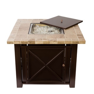 Somette Bronze Powder Coated Fire Pit Table with Travertine Countertop